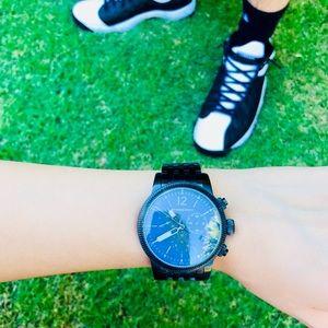 Burberry large gunmetal chronograph watch